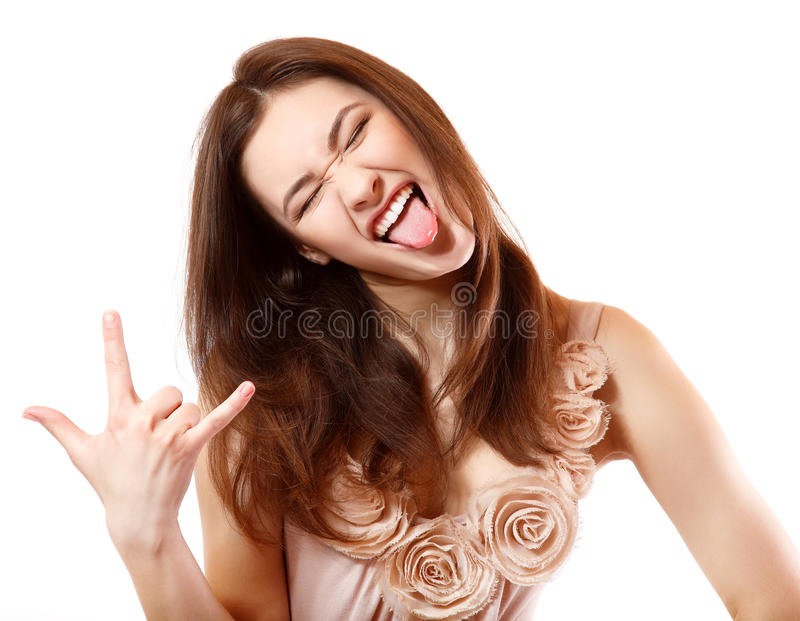 Ritratto di bello gesturing estatico felice sorridente della ragazza teenager immagini stock libere da diritti