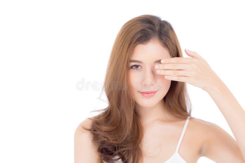 Ritratto di bello trucco del cosmetico, fine della donna della mano della ragazza immagine stock libera da diritti