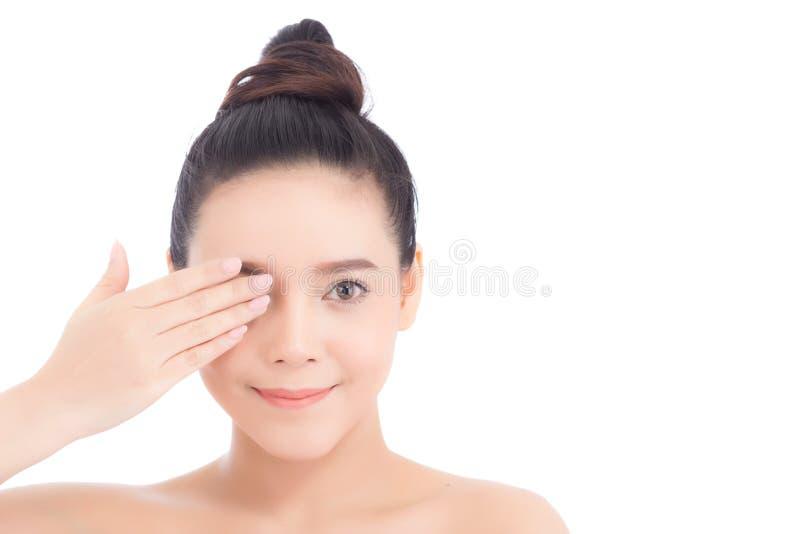 Ritratto di bello trucco del cosmetico, fine della donna della mano della ragazza immagine stock