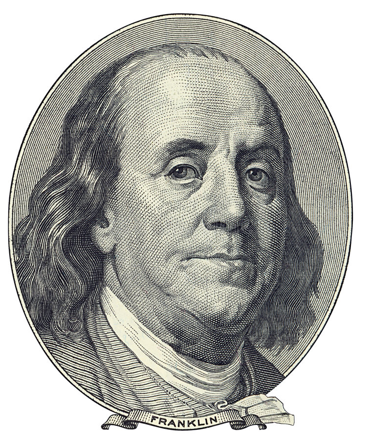 Ritratto di Benjamin Franklin immagini stock