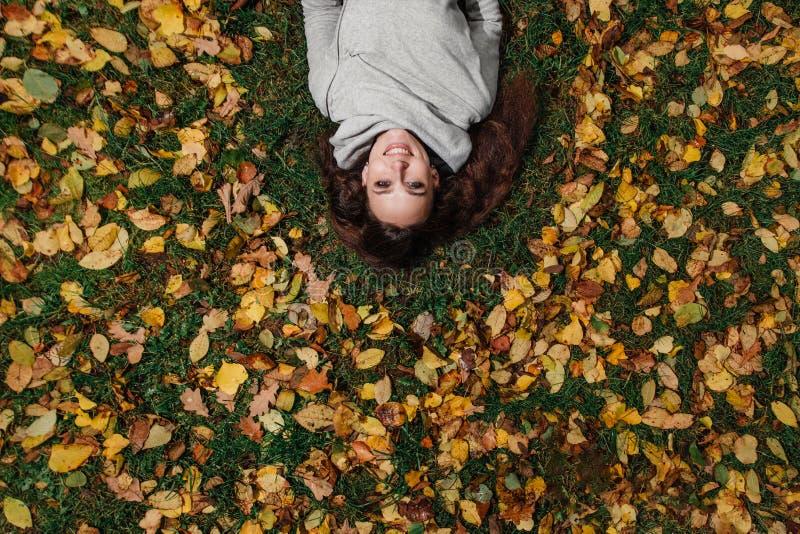 Ritratto di caduta di una ragazza che si trova su un prato inglese in un Forest Park Capelli lunghi su fogliame giallo immagini stock