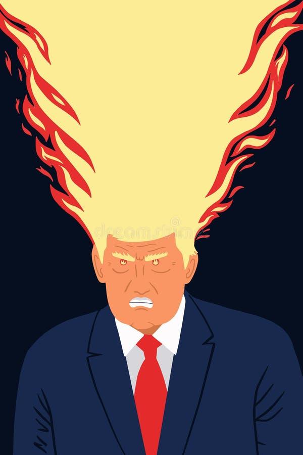 Ritratto di caricatura dell'illustrazione di vettore di presidente Donald Trump