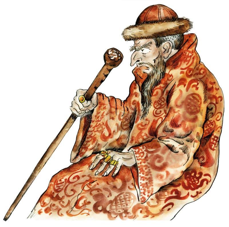 Ritratto di caricatura di Ivan dello zar illustrazione vettoriale