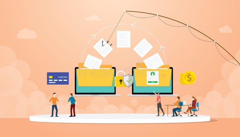 Ritratto di dati che rubano informazioni con l'esca e la gente del team hacker con stile piatto moderno illustrazione vettoriale