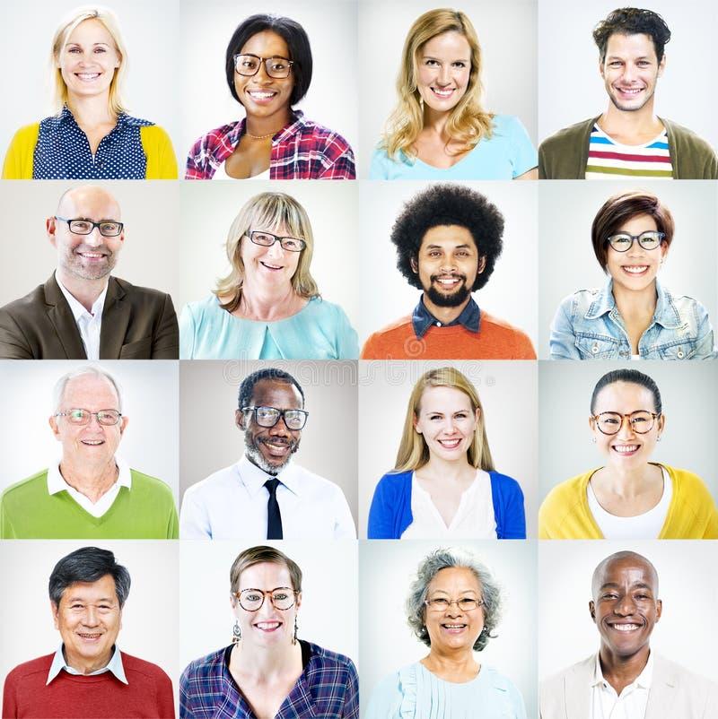 Ritratto di diversa gente variopinta multietnica fotografie stock libere da diritti