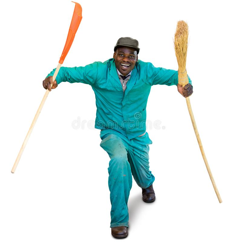 Ritratto di divertimento del lavoratore africano spontaneo del giardino fotografie stock libere da diritti