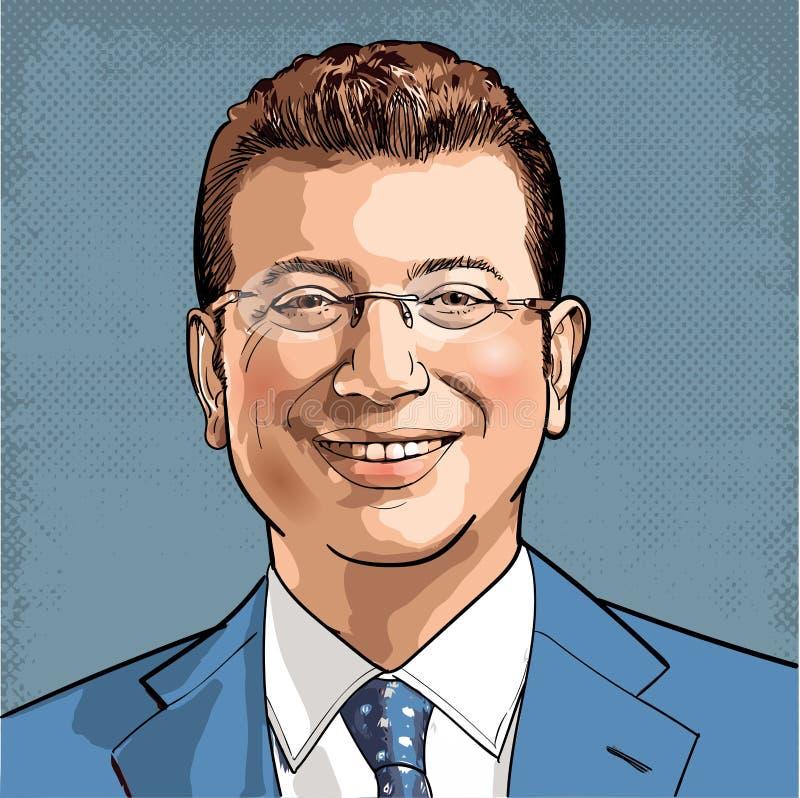 Ritratto di Ekrem Imamoglu, sindaco del comune metropolitano di Costantinopoli, Turchia royalty illustrazione gratis