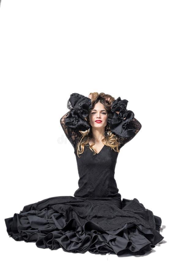 Ritratto di giovane ballerino di flamenco in bello vestito fotografie stock libere da diritti