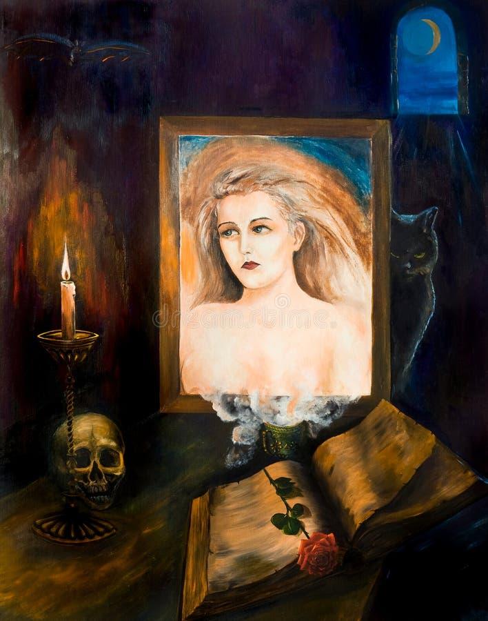 Ritratto di giovane bella ragazza nello specchio illustrazione vettoriale