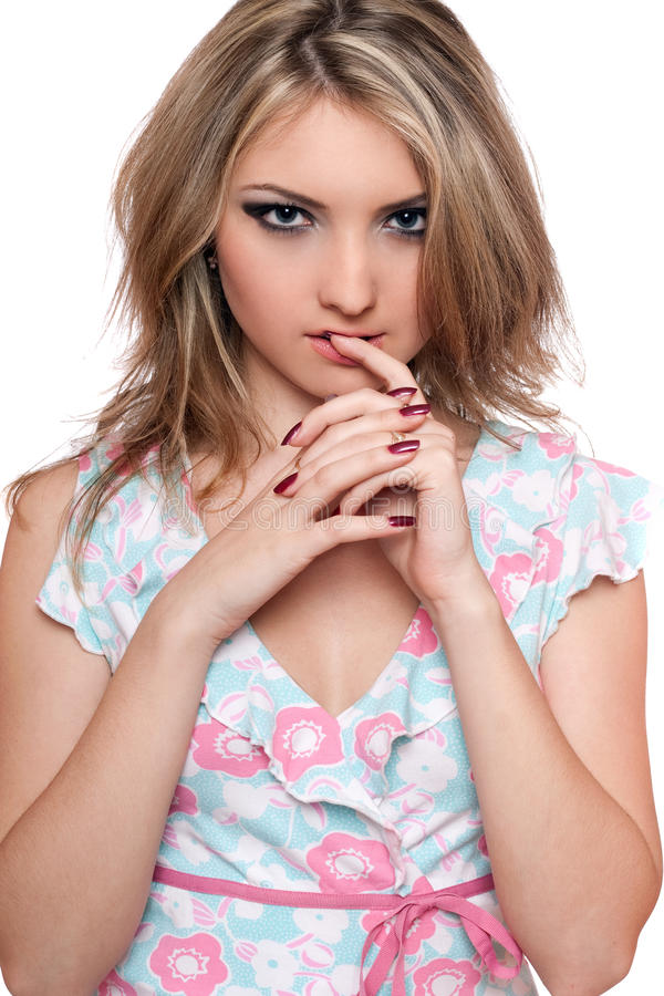 Ritratto di giovane blonde appassionato. Isolato fotografie stock