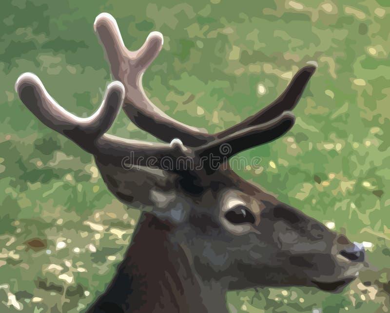 Ritratto di giovane cervo su un fondo verde, progettazione indicativa fotografia stock libera da diritti
