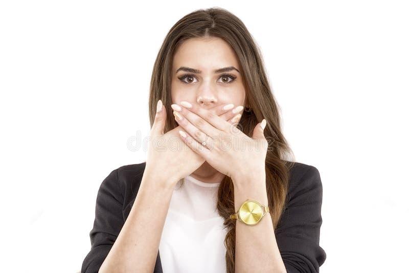 Ritratto di giovane copertura sorridente felice della donna di affari con Han immagini stock