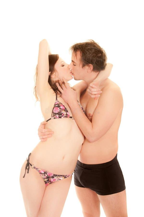 Ritratto di giovane coppia baciante fotografia stock