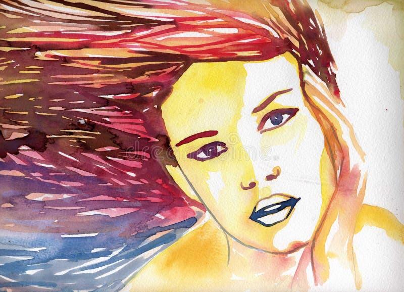 Ritratto di giovane donna. illustrazione vettoriale