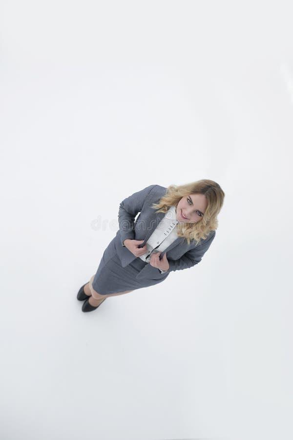 Ritratto di giovane donna di affari Isolato su bianco immagini stock libere da diritti