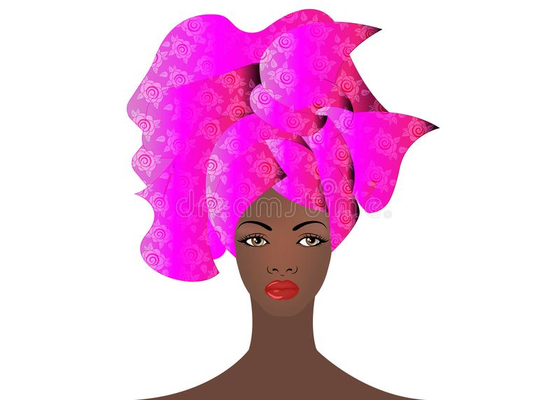 Ritratto di giovane donna africana in un turbante variopinto Avvolga il modo di afro, Ankara, Kente, il kitenge, vestiti africani illustrazione di stock