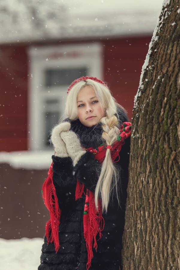 Ritratto di giovane donna caucasica nello stile russo su un forte gelo in un giorno nevoso di inverno Ragazza di modello russa fotografia stock