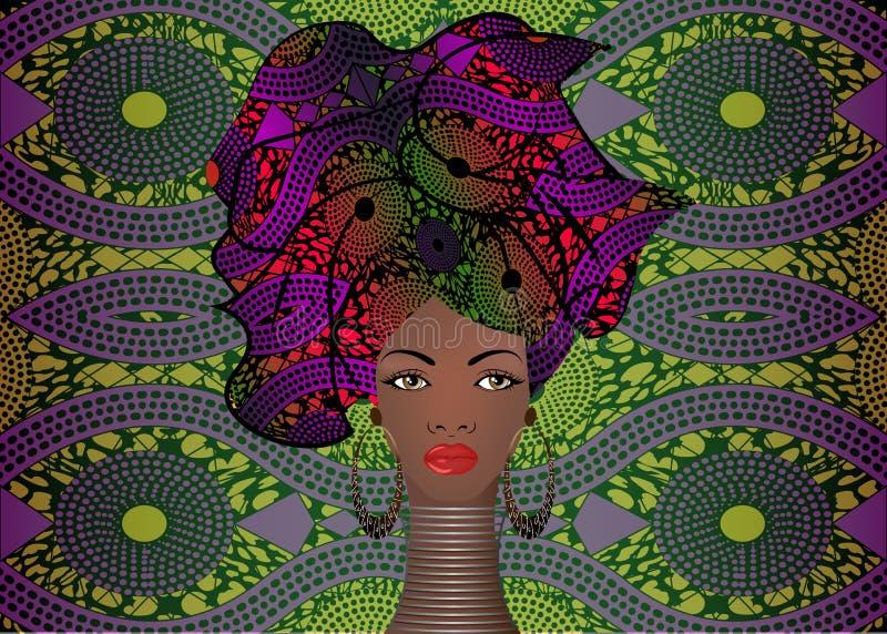 Ritratto di giovane donna di colore in un turbante Bellezza dell'Africano di animazione Vector l'illustrazione di colore isolata  illustrazione di stock