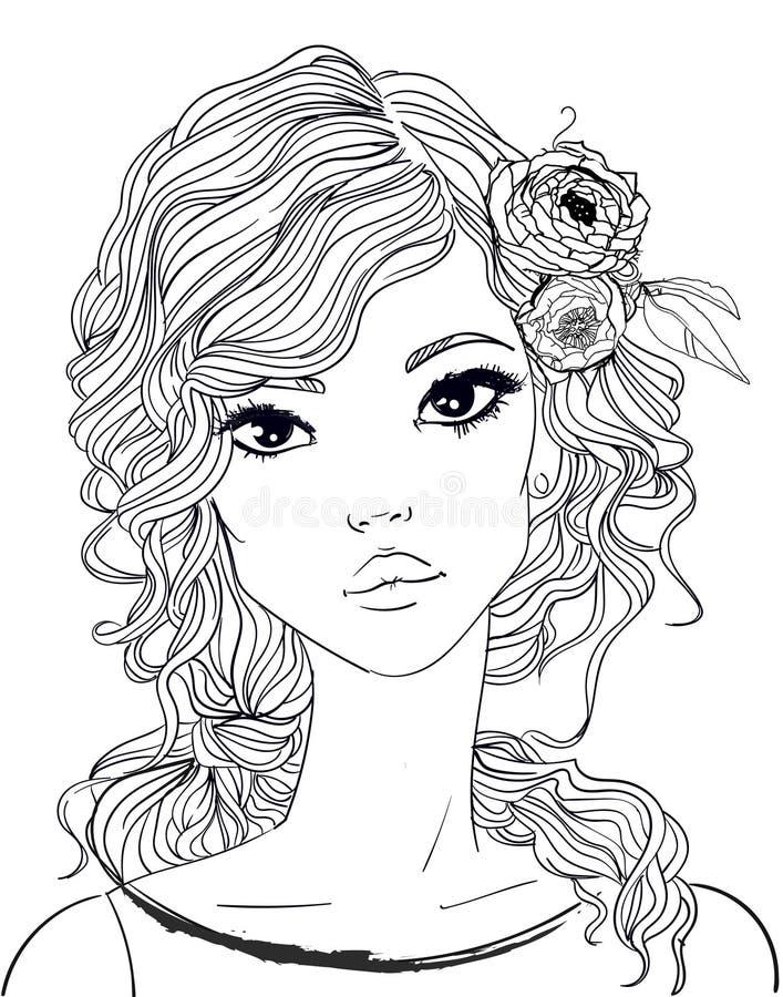 Ritratto di giovane donna con capelli lunghi royalty illustrazione gratis