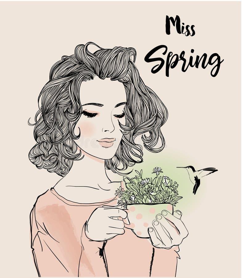 Ritratto di giovane donna con i fiori illustrazione di stock
