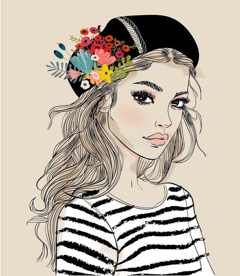 Ritratto di giovane donna con i fiori royalty illustrazione gratis