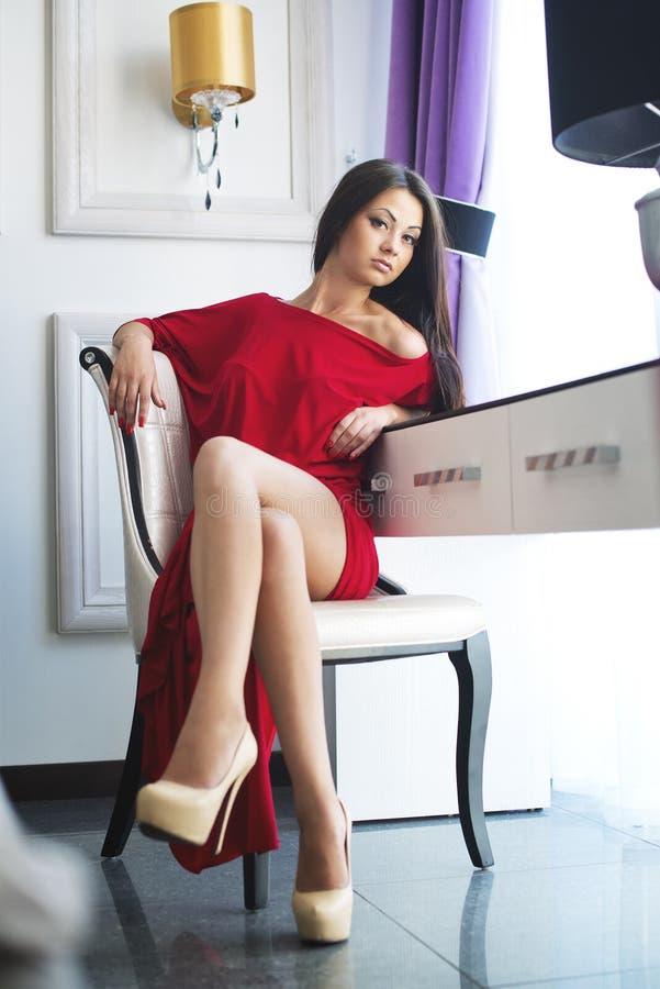 Ritratto di giovane donna del bello brunette immagini stock libere da diritti