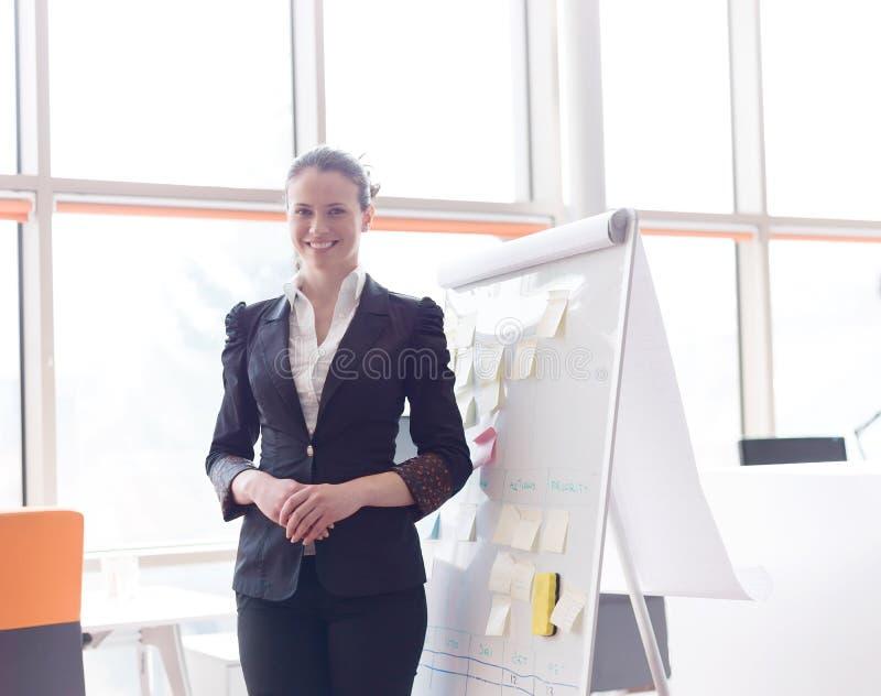 Ritratto di giovane donna di affari all'ufficio moderno fotografia stock libera da diritti