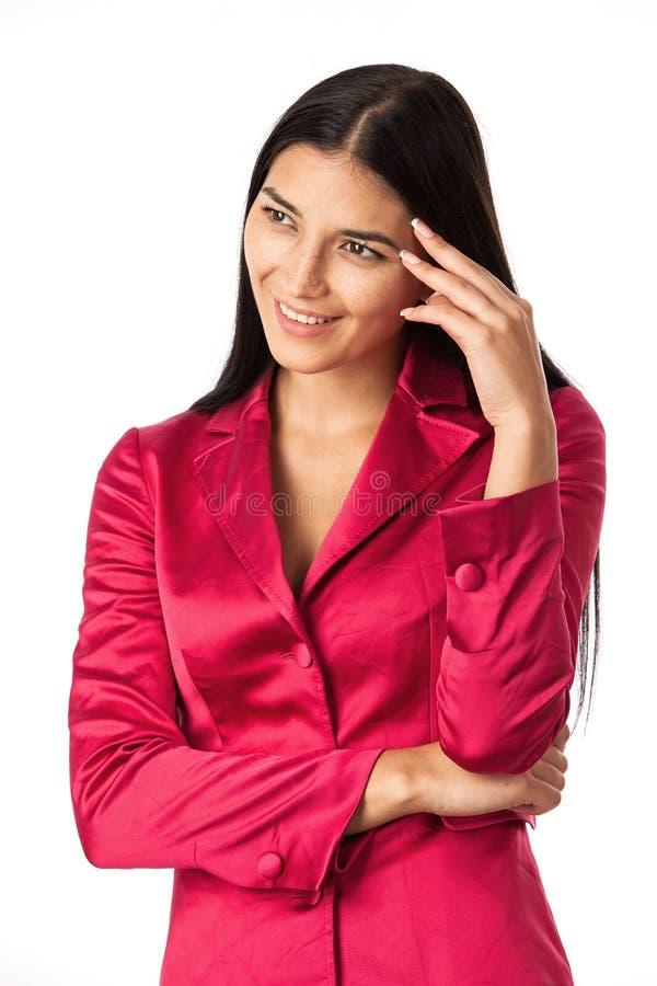 Ritratto di giovane donna felice di affari fotografia stock