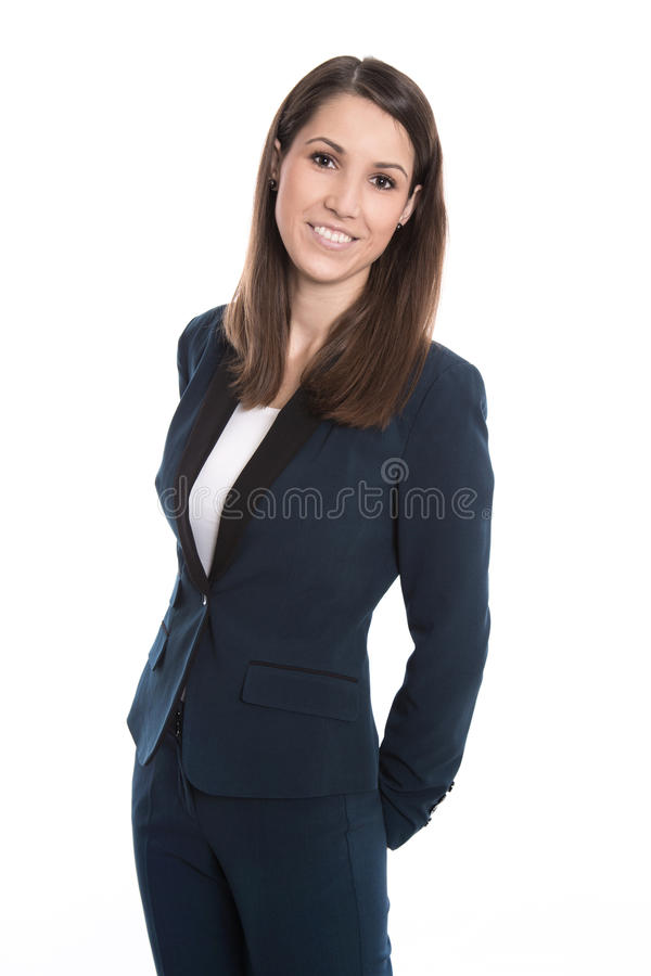 Ritratto di giovane donna sorridente di affari isolata su bianco fotografie stock libere da diritti