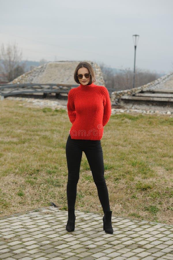 Ritratto di giovane modello castana espressivo in maglione tricottato fotografia stock