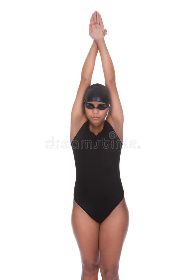 Ritratto di giovane nuotatore femminile fotografie stock libere da diritti