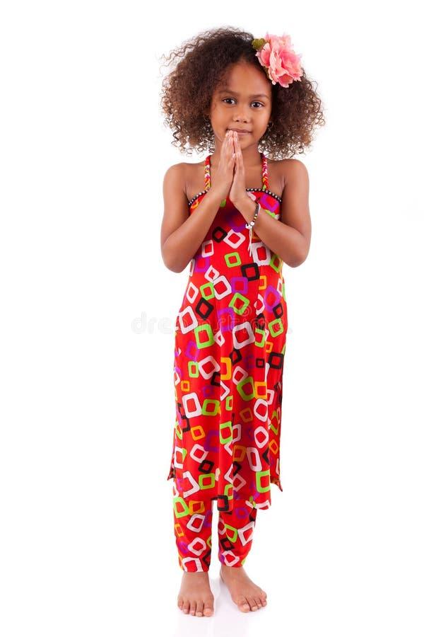 Giovane ragazza asiatica africana sveglia - bambini asiatici fotografia stock libera da diritti