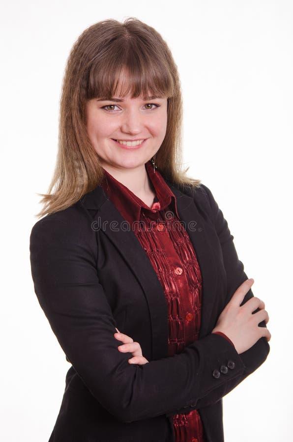 Ritratto di giovane ragazza elegante in un rivestimento fotografia stock