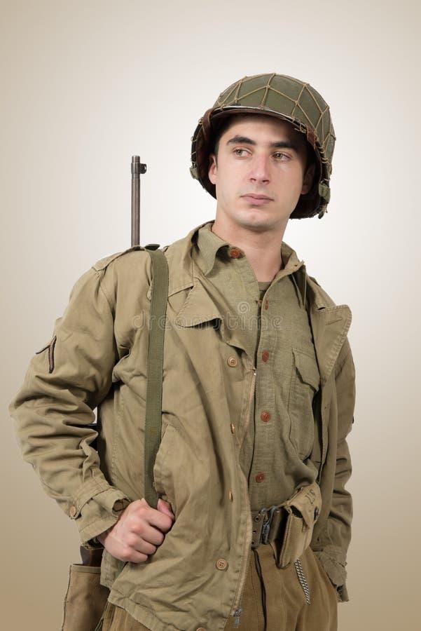 Ritratto di giovane soldato americano, ww2 fotografia stock libera da diritti