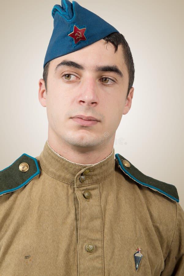 Ritratto di giovane soldato sovietico, ww2 fotografia stock libera da diritti