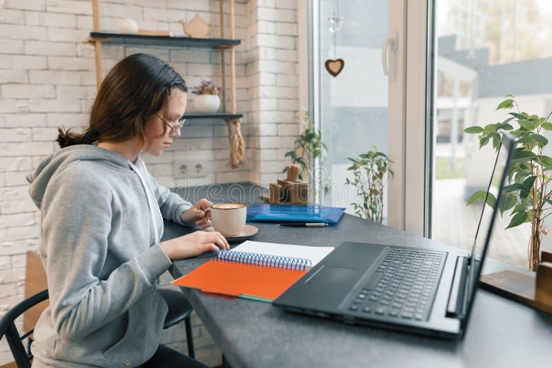 Ritratto di giovane studentessa in caffetteria con il computer portatile fotografie stock