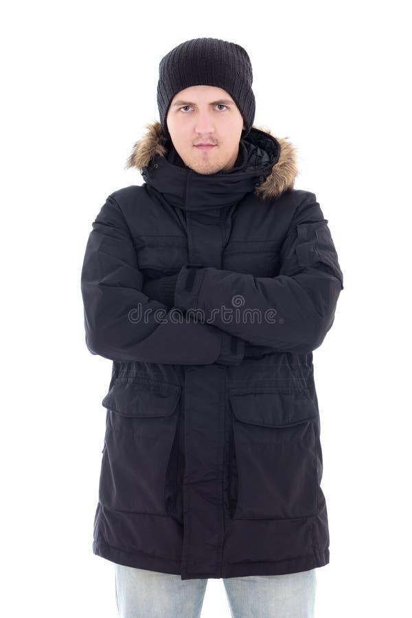 Ritratto di giovane uomo attraente in rivestimento nero di inverno isolato fotografie stock