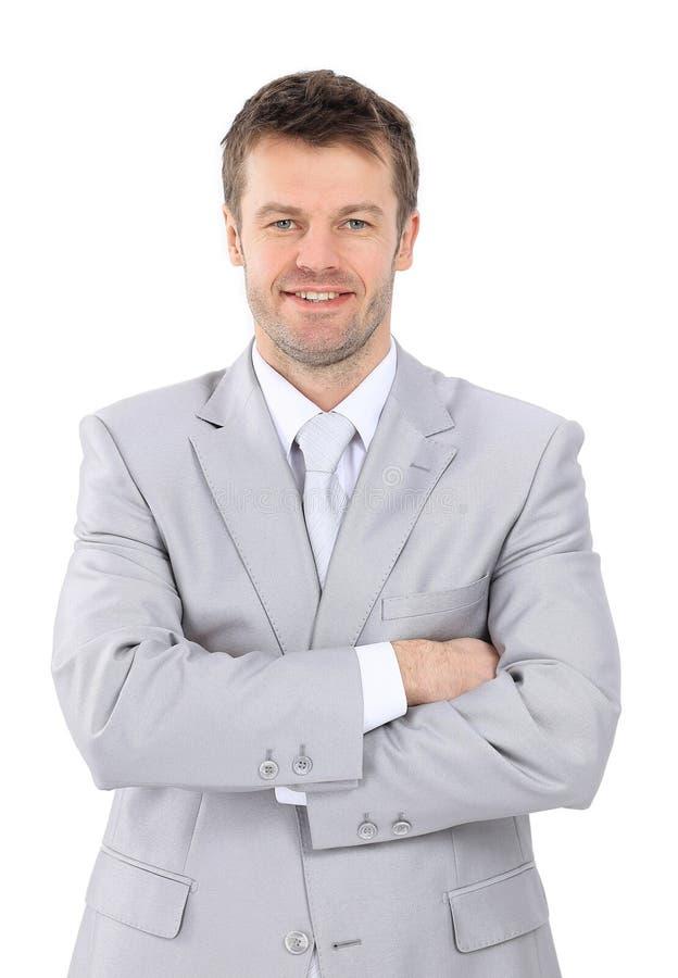 Ritratto di giovane uomo d'affari in un vestito grigio fotografie stock
