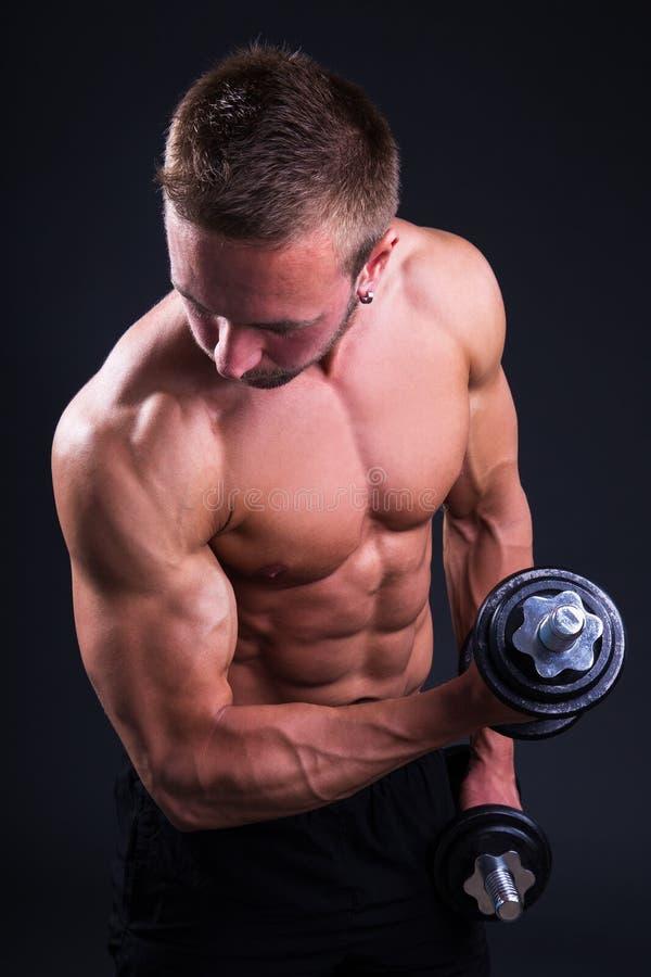 Ritratto di giovane uomo muscolare che fa gli esercizi con le teste di legno OV immagini stock libere da diritti
