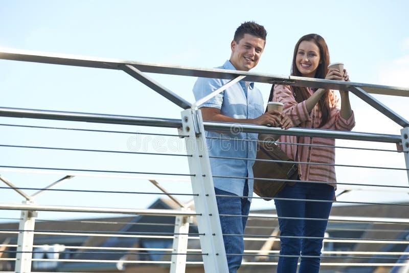 Ritratto di giovani coppie che camminano per lavorare sopra il ponte fotografia stock libera da diritti