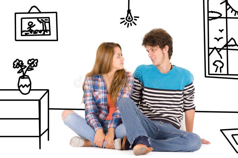 Ritratto di giovani coppie felici attraenti nell'amore fotografia stock
