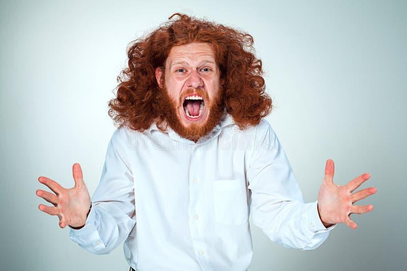Ritratto di grida giovane con capelli rossi lunghi e dell'espressione facciale colpita su fondo grigio immagine stock libera da diritti