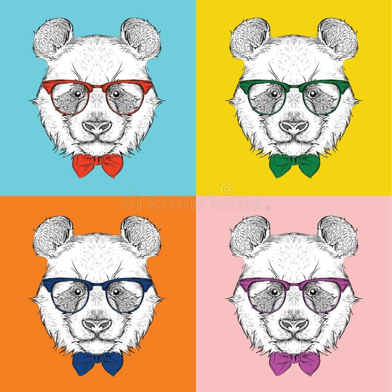 Ritratto di immagine del panda nel foulard e con i vetri Illustrazione di vettore di stile di Pop art royalty illustrazione gratis