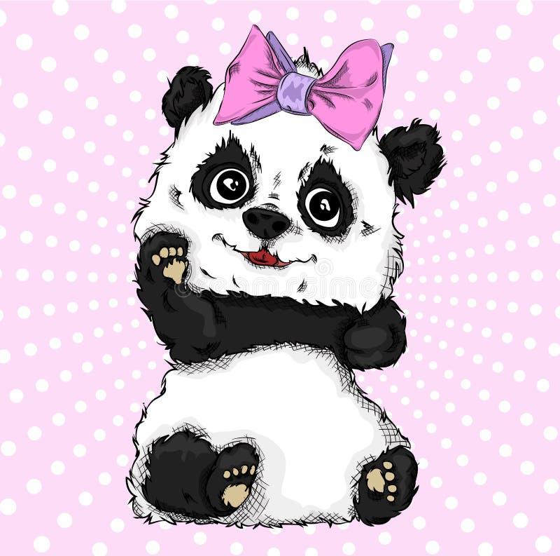 Ritratto di immagine di tiraggio della mano dell'orso di panda con l'arco Illustrazione di vettore di tiraggio della mano illustrazione di stock