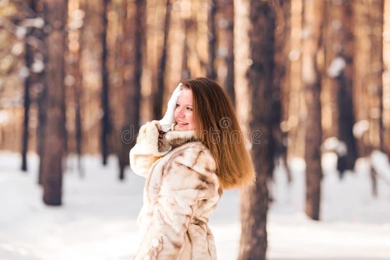 Ritratto di inverno della pelliccia d'uso della giovane bella donna Concetto di modo di bellezza di inverno della neve immagini stock libere da diritti