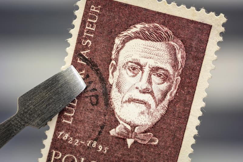 Ritratto di Louis Pasteur su un bollo d'annata della posta fotografia stock libera da diritti