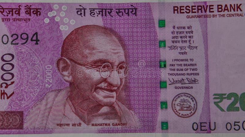 Ritratto di Mahatma Gandhi sulla banconota immagini stock libere da diritti