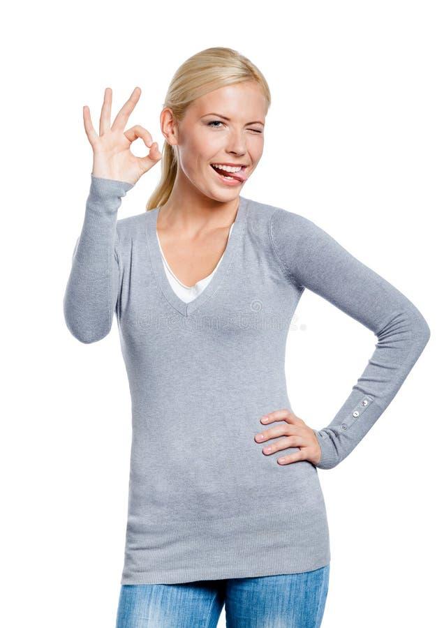 ritratto di Metà-lunghezza di gesturing giusto della donna fotografie stock libere da diritti