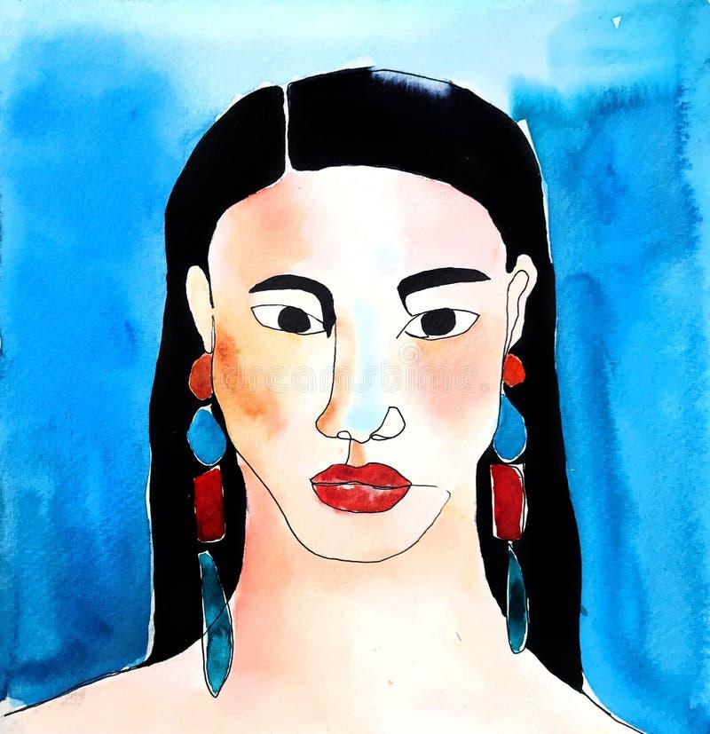Ritratto di modo dell'acquerello della donna con trucco luminoso Stile di Moderm del disegno illustrazione vettoriale
