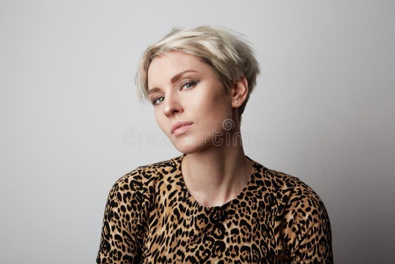 Ritratto di modo di giovane bella ragazza d'avanguardia con il vestito dal leopardo che esamina macchina fotografica sopra fondo  immagini stock